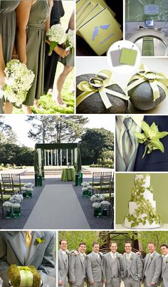 Secondary Colour Scheme:    Gray + Sage    Good for: Earthy outdoor weddings    Tips for pulling it off: Pairing mossy green with neutral gray is seriously grown-up and sophisticated. Add touches of silver -- in the guys' ties or the table runners, for example -- to give this quiet palette some sparkle.
