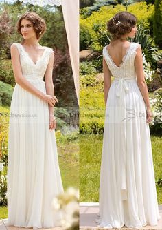 A-Line V-Neck Lace Zipper Back Chiffon Floor-Length Wedding Dress