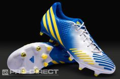 adidas Football Boots - adidas Predator LZ XTRX SG - Soft Ground - Soccer Cleats - Running White-Vivid Yellow-Prime Blue