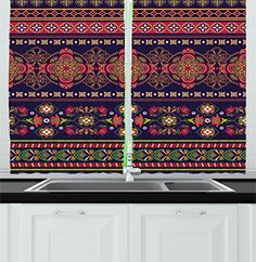 Paisley Decor Kitchen Curtains by Ambesonne Floral Pattern in Border Design of Flowers Geometrical Shapes and Lines Window Drapes 2 Panels Set for Kitchen Cafe 55W X 39L Inches Multi Colored ** ** AMAZON BEST BUY ** #Curtains