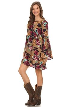 Mocha Bell Sleeve Tunic with Keyhole and Burgundy Floral Print