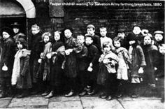 Pauper children waiting for Salvation Army farthing breakfasts 1880