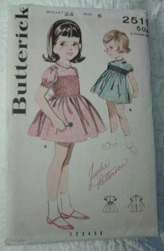 Vtg Girls Sz 6 Smocked Gingham Dress Sewing Pattern Butterick 2511