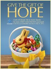 Create an 'Easter Traditions' Pinterest board & share it with Lindt Chocolate for a chance to win an Easter gift basket & $25 gift card to Michaels! If the contest receives over 1,000 entries, Lindt will donate $10,000 to Autism speaks. Help us give the gift of hope! on.fb.me/XufIWr