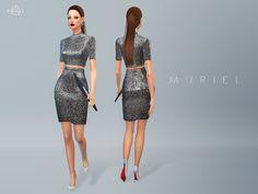 Metallic Silk Dress MURIEL by starlord at TSR via Sims 4 Updates