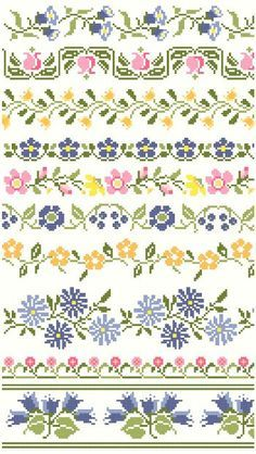 Vintage Floral Cross Stitch Borders                                                                                                                                                      More