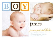 Baby Blocks Boy Birth Announcement