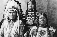 Koostata Big Knife with his step-daughter Mary, and wife Suzette Big Knife - Kootenai - 1915