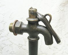Early Brass Water Faucet with Lock Lever ~ SOLD
