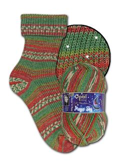 """Christmas sockyarn 4ply sparkly silver effect in colours green red white """"Magic Sky"""" range 425m (465 yds) 100g shade 9803 Shooting Star"""