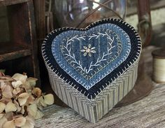 Primitive Heart Wool Applique Wool Sewing Box by rockriverstitches