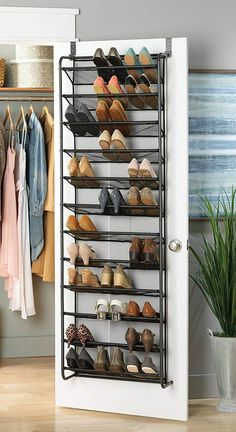 Turn your doors into storage space with these 20 clever ideas - Living in a shoebox Add extra storage space to your kitchen, entryway, bedroom and bathroom with these ingenious over-the-door ideas. Elfa white wire kitchen door & wall r Closet Shoe Storage, Diy Shoe Rack, Clothing Storage, Shoe Racks, Shoe Rack Door, Shoe Storage Door Hanger, Storage For Shoes, Shoe Storage In Closet, Shoe Storage Ideas Bedroom