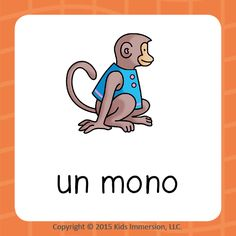 """Now that we're a couple of weeks into the school year, who's feeling like their classrooms are full-up of these little guys?! ;-) Help get your students back on a track with a fun round of vocab matching starting w/ this week's #WordOfTheWeek & teach them how to identify """"un mono"""" in #Spanish! #earlylang #edchat #kinderchat #elementary #elemchat"""