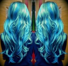 Teal blue and green ombre hair color with nice highlight, turquoise mermaid hairstyle~~ cannot wait to try