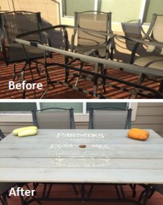 Broken Glass Patio Table Redo   Replaced Broken Tabletop With Faux Vintage  Farmers Market Sign