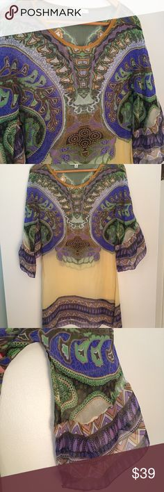 CAbi Marrakesh • 100% Silk Tunic CAbi Marrakesh Caftan Tunic. Style 364. MSRP $128. 100% silk. BoHo three-quarter bell sleeves. Sheer. Dryclean only. Great condition.  Size extra small. Measurements: bust 32, waist 29, length 31, sleeve opening 12.  Size states extra small but could fit small as well.  Thanks so much for looking in my closet! CAbi Tops Tunics