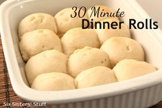 30 Minute Dinner Rolls Recipe on SixSistersStuff.com - 30 minutes from start to finish (including baking time!)