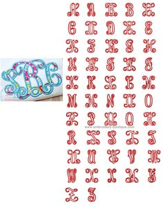 Intertwined Applique Font—Satin  Sizes: 4in, 4.5in, 5in, 6in, 7in, (8in, 9in—WILL NOT fit on Janome MB-4 Machine) Side & Center Letters