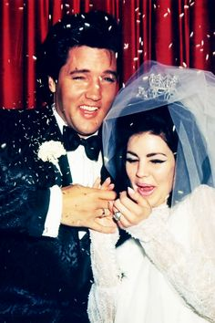 Elvis and Priscilla Presley's wedding day, May 1st, 1967.