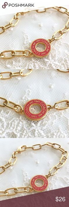 """RARE! Coach Coral Station Disc Charm Bracelet 🎀NOTE TO BUYERS... all my items are marked to lowest price. PLEASE DON'T MAKE OFFERS, MY PRICE IS FIRM. Thank you and have a Wonderful Day!🎀  100% Guaranteed Authentic RARE Coral Station Disc charm on CUSTOM 8"""" gold link bracelet.  No box. Brand New!  SEE MATCHING NECKLACE!  Follow me so you can be notified of new items listed!  Take a peek at my other listings for more treasures... Coach Jewelry Bracelets"""