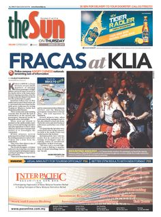 """Malaysia's Sun describes """"FRACAS"""" by families of  Flight 370 passengers. """"ANGRY CHINESE"""" in red"""
