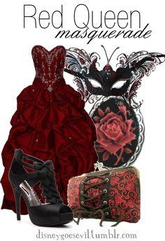 Red Queen Masquerade - so pretty Disney Inspired Outfits, Themed Outfits, Disney Outfits, Disney Style, Cute Outfits, Disney Fashion, Masquerade Party Outfit, Masquerade Dresses, Mardi Gras