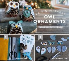 Pinecones are very common trees. If you happen to have a lot of pinecones nearby, be sure to fetch some for cool and interesting DIY pinecones craft ideas. Pinecone Owls, Pinecone Ornaments, Owl Ornament, Diy Christmas Ornaments, Pine Cone Art, Pine Cone Crafts, Pine Cones, Owl Crafts, Adult Crafts
