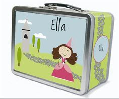 Dark Brown Hair Glam Princess Personalized Lunch Box