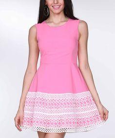 Look what I found on #zulily! Tesoro Moda Pink Crochet-Hem Fit & Flare Dress - Women by Tesoro Moda #zulilyfinds