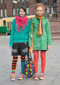 """Sara and Helmi are dressed up for Colour Day at their school. Helmi was voted the most colourful dresser of the school.  Helmi, 14: """"In winter I wear black, in summer I'm more colourful. Next I would like to buy a big, colourful skirt.""""  Sara, 15: """"My style is pick and mix. I think punk rockers are stylish. I would like to be a gala dress designer."""""""