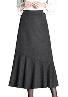 f918e27987f Pandapang Womens Fashion Winter High Waist Mermaid Bodycon Woolen Skirt  Grey XXS     Click