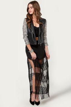Black Magic Woman Black Crocheted Fringe Skirt  $49