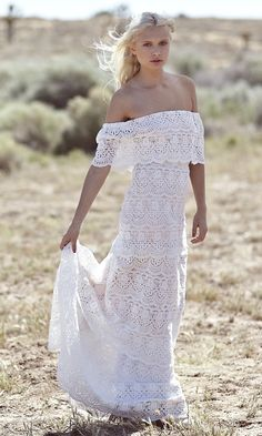 """Bohemian Wedding Dress 1970s Hippie Off The Shoulder- """"Goldie"""" by Daughters Of Simone"""
