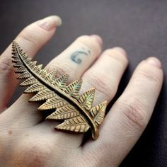 75281815537f Ring! Fern Frond Statement Knuckle Ring in Oxidized by BrillianceFound from  Etsy by InverteBrit Fern