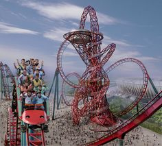 The ArcelorMittal sculpture in London has an abstract rollercoaster look. Great inspiration fro background parts that wouldn't actually be ride-able.