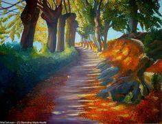 Artwork >> Sancelme Marie-Noelle >> Golden reflections  #artworks, #nature, #paining, #masterpiece, #trees