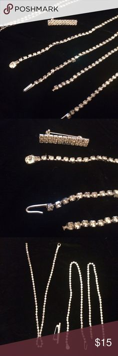 "💎 Rhinestone Necklaces & Brooch 💎 Collection of vintage rhinestone necklaces and brooch/pin.  Appears they might have been used in a costume but are still in working order.  Great set for vintage collectors, burlesque queens and pin up girls 💕💋 Longest ones measure 13 1/2"" and 12 1/2"" Vintage Jewelry Necklaces"