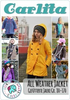Sewing pattern for jacket CARLITA, Kreativ-Ebook - farbenmix Online-shop All Weather Jackets, Winter Jackets, Overall, Canada Goose Jackets, Little Girls, Sewing Patterns, Crochet Hats, Children, Shopping