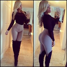 Lover her outfit :) high waisted pants with high boots and a body suit ; Sexy Outfits, Sexy Dresses, Fall Outfits, Cute Outfits, Mädchen In Leggings, Tights, Boots Talon, Looks Pinterest, Hot Lingerie