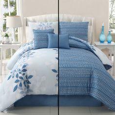 Victoria Classics 5-Piece Ellory Reversible Queen Comforter Set in Silver - Beyond the Rack