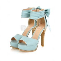 Women's Shoes Wide Ankle Strap Stiletto Open Toe Sandals In Candy Colors With A Bow At the Counter - USD $34.99