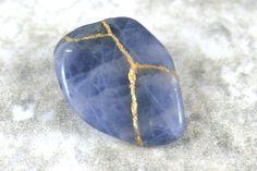 Kintsugi (kintsukuroi) sodalite tumbled stone with gold repair - OOAK by A Kintsugi Life