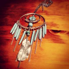 Turquoise Dream Catcher necklace - Recycled materials - Bohemian - Tribal - Gypsy <3 Jenna Lee, Native Australians, Dream Catcher Necklace, Australian Birds, Recycled Materials, Bird Feathers, Handcrafted Jewelry, Jewelry Crafts, Gypsy