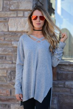 Kenna Heather Grey Criss Cross Sweater    Foi Clothing   Grey Sweater   Trimming Long Sleeve   Criss Cross Front Detail   Light Knitted Top   Fall Fashion   Knit Tops   Women's Long Sleeve Top   Staff Favorite   Blogger Style   Everyday Wear   Trendy Basics   Must Have   OOTD   WIWT  
