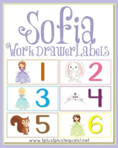 Sofia the First printable Work Drawer Labels from 1+1+1=1