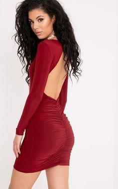 Alisiah Burgundy Ruched Back Bodycon Dress Image 1