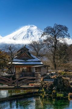 Mt. Fuji as seen from Oshino-Hakkai, Yamanashi, Japan 忍野八海