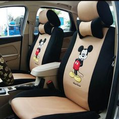 18pcs-mickey Mouse-new Arrive Universal Car Seat Covers-automotive Car Seat Cushion-car Steering Wheel Cover-shipp By DHL From Hongkong, Take 4-7working Days Delivered (BEIGE+BLACK)