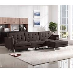 The Opus Collection by Diamond Sofa has a streamlined and modern aesthetic. With its track arms, tufted seat and backs, this multifunctional collection provides comfort and versatility with its convertible chaise sectional that can convert to a bed in seconds. #interiordesign
