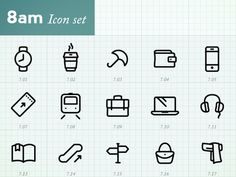 Dribbble - Minimal Icons by hour (8am) by Joe Harrison